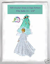 "Crochet Gown & Cape Doll Pattern Fits BARBIE Dolls Bride Gown 11-1/2"" 525"