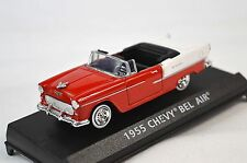 CHEVROLET BEL AIR CONVERTIBLE 1955 MOTORMAX 73824 1:43 NEW DIECAST MODEL RED WH