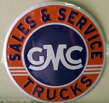 "GMC TRUCKS SALES AND SERVICE 12"" embossed metal sign vintage logo auto CS60084"