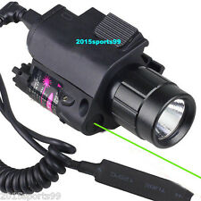 Tactical Combo Cree Flashlight Green Laser Sight rail 20mm for Pistol/Glock #06