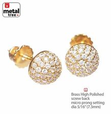 Hip Hop Dome Berry Brass Gold Plated S Pave CZ Setting Screw Back Earring 943 G