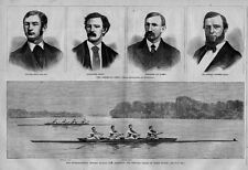 SCULLING INTERNATIONAL ROWING MATCH AMERICAN AND ENGLISH CREWS IN THEIR BOATS