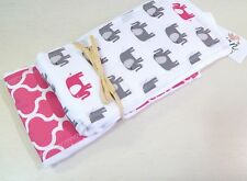 NWT Elephant Pink Gray Baby Girl Burp Cloth Set Infant Safari Moroccan Jungle