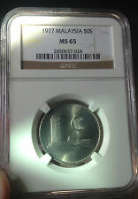 MS 65 NGC Parliament 1977 50sen coin  graded ! Die Rotate reverse !