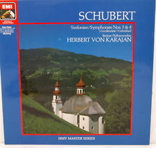 """SCHUBERT SINFONIEN NOS.5 & 8 HERBERT VON KARAJAN HMV MASTER SERIES 12"""" LP (c184)"""