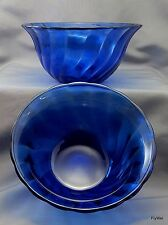 "Cobalt Blue Glass Swirl Soup Cereal Salad Bowls 6.5"" Set of 2"