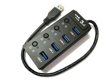 USB 3.0 Multiple 4 Port Hub Adapter with Switch For Laptop Tablet Macbook PC