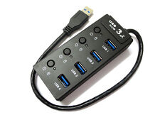 New 4 Port Keybord USB 3.0 Hub Aluminum High Speed for PC Mac Laptop Desktop