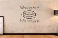Lord Of The Rings - One Ring To Rule Them All Wall Art Decal Sticker