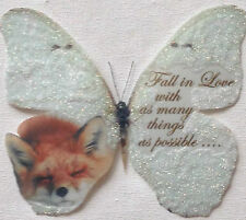 British Wild Life Red Fox in Sparkling Snow- Butterfly with Quote 3D Wall Decal