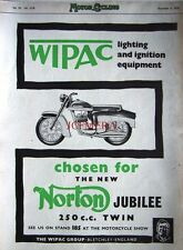 1958 NORTON 'Jubilee 250cc Twin' Motor Cycle AD - Original 'Wipac' Print ADVERT