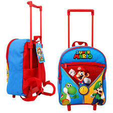 Toddler Kids SUPER MARIO BROS Preschool Rolling Trolley Wheels Backpack Bag NEW