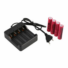 4pcs 18650 3.7V 9900mAh Li-ion Rechargeable Battery + EU Charger Indicator DC1