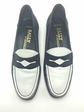 BALLY Mens Shoes Blue & White Loafers Size 8 M Pompano Switzerland Leather