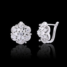 Beautiful flowers Earrings!18K White Gold filled Simulated Diamond hoop earrings