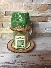 Homco Home interiors Palm Tree Candle shade and plate, green apple candle jar