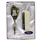 TEDDY DESIGN SILVER PLATED BABY BRUSH & COMB SET CHRISTENING /NEW BABY GIFTS