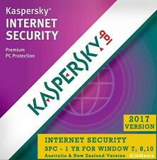 Kaspersky Internet Security 2017, 3 PC 1 Year for Window - License Key
