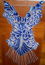 "15"" blue Sequin Pearl Bodice bead Applique belly dance dancewear NEW handmade"