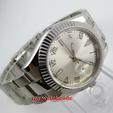 40mm parnis silver dial date sapphire glass automatic mens watch P417