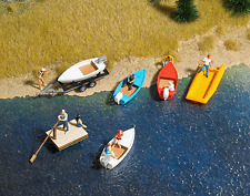 HO 1:87 Busch Motor Boat , Raft , Dinghy and Trailer KIT #1157 for Lake diorama