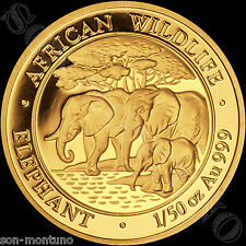 2013  SOMALIA GOLD ELEPHANT 1/50 Oz 24k  PROOF COIN in Capsule African Wildlife