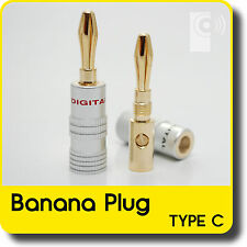 Hi-Fi connettori a banana (2x) - 4mm Placcato Oro Altoparlante/amplificatore Cavo Connettori (bp2)