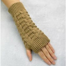 Ladies Winter Braided Knitted Crochet Long Fingerless Gloves Arm Warmer Mittens
