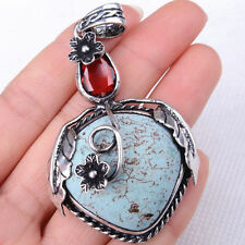 HANDMADE 925 Sterling Silver Oval Teardrop Turquoise Gemstone Pendant M1862