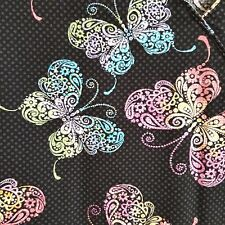 Nurse Scrub Small Butterfly Pediatric Hospital Medical Vet 3 Pocket Tie Back
