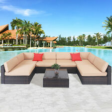 7 PCS Patio Sofa Set Sectional Furniture PE Wicker Rattan Deck Couch Brown New