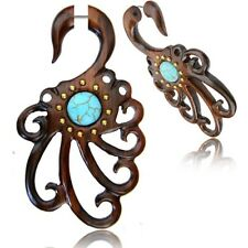 PAIR 18G TRIBAL SONO WOOD FAUX FAKE CHEATER PLUGS TURQUOISE LONG GAUGES TALONS