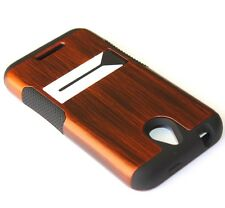 For HTC Desire 510 512 HARD&SOFT RUBBER HYBRID ARMOR SKIN CASE GLOSSY BROWN WOOD