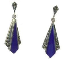 BLUE LAPIS & MARCASITE Sterling Silver Art Deco Style Drop Earrings