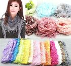 FD147 Lace Tassel Sheer Burnt-out Floral Triangle Mantilla Scarf Shawl Wrap 1pc