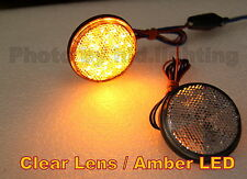 2x Round Reflector AMBER LED Rear Tail Brake Stop Light Third Toyota Clear Lens