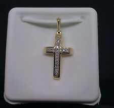 10K Yellow Gold Cross Pendant With Diamond For Ladies, Heart, Angel