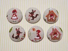 6 Little Red Riding Hood Fabric Covered Buttons - 30mm
