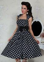 PRETTY KITTY ROCKABILLY 50s BLACK POLKA DOT VINTAGE STYLE SWING PROM DRESS 8-24