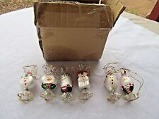 6 BLOWN GLASS ORNAMENTS SHAPED LIKED WRAPPED CANDY W FACE W BOX