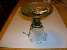 ANTIQUE OLD YOST BRASS CEILING FIXTURE FITTER CAP GLASS SHADE 100 YEARS LIGHT