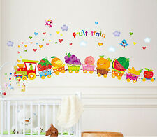 Removable Cartoon Fruit Train Wall Sticker Vinyl Decal DIY Room Home Mural Decor