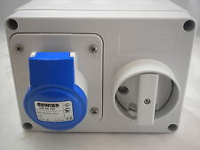 16A 3 PIN 240V SWITCH SOCKET BLUE GEWISS GW66004 SURFACE IP44