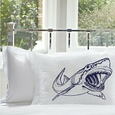 Two (2) Navy Blue big mouth white Shark attack bedding nautical pillowcase cover