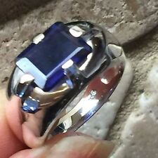 Natural 2ct Iolite Water Sapphire 925 Solid Sterling Silver Unisex Ring 7.75
