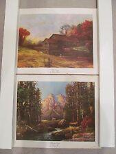 Lot-2 Vintage Robert Wood Litho Prints Majestic Peaks & Mill Stream 11 x 14