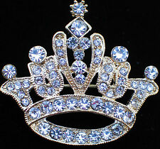 GOLD TONE RHINESTONE PRINCESS CROWN BEAUTY PAGEANT TIARA PIN BROOCH 1 1/2""