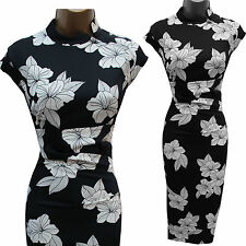 KAREN MILLEN Black White Satin Chinese Oriental Floral Cocktail Wiggle Dress 14