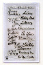"FLONZ ""happy birthday wish"" greeting vintage sentences word clear stamps set 814"
