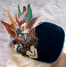 Vintage 1940's 50's style DARK GREEN VELVET PHEASANT FEATHER PERCHER HAT Revival